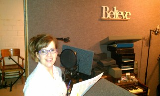 Kimberly recording the METAMORPHOSIS narration that goes with the new music.