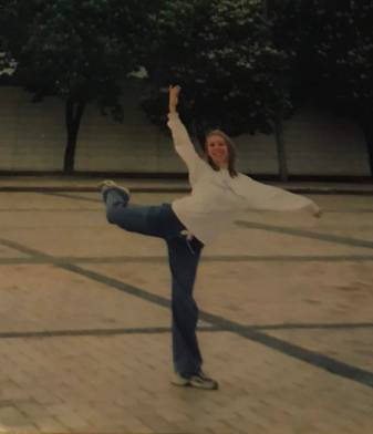 Dancer, Chloe Tinne Harley pose while on tour in Kiev